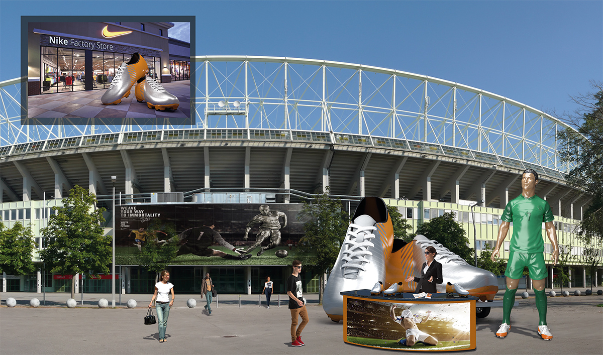 Messeobjekte Messe Objekte Messe Skulpturen Messe Design, 3d werbung, Messe-und Event Objekte groß XXL lebensgroß riesig gigantisch Eventobjekte Messeobjekte, 3D Objekte, große GFK Objekte dreidimensional, Messeobjekte 3D,,Mobile Werbung, Werbung groß, Werbung außergewöhnlich, individuelle Werbung, Werbekampagne in 3D, Nike werbung in 3D, Fußballstadien mit dreidimensionaler Werbung