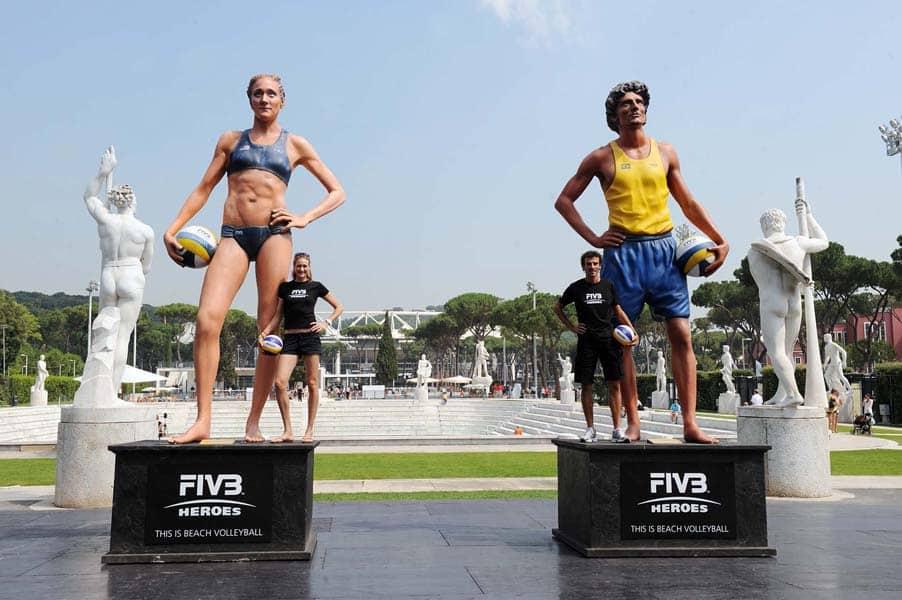 3D-Werbung, Modellbau XXL groß 3D, Volleyball 2012 – Weltmeister und Olympiasieger in XXL-5 Meter Größe, XXL 3D – Großfiguren und Riesenobjekte, Großfigur in Leichtbauweise Styropor , Styrodur, PUSchaum, Glasfaser-Kunststoff und in Massivbauweise Carrara-Marmor, FIVB Heroes: Brazilian Emanuel Rego and American Kerri Walsh, lebensgroße riesengroßexxl Figuren, 3D-Werbefiguren für aussen, großes 3D-Figuren-Programm, individuelle große Figuren Werbung
