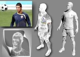 lebensgroße xxl große individuelle figuren werbung Event Messe Ausstellung, Superstar Ronaldo Scanndaten 3D-Culture