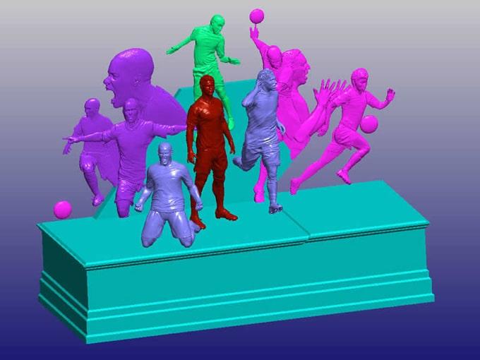 innovative Werbung 3D Menschen in 3D groß lebensgroß Sportler in XXL-Format, Fußball-Meister mit xxl-Figuren in lebensgroßen Skulpturen, 3D-Culture-Dienstleistung im 3D-Bereich