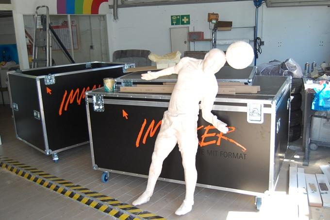 3D-Drucker für große Objekte industrieller 3D-Großdruckerriesige Menschen mit 3D-Drucker gedruckt, 3D-Scanning und 3D-Vermessung,